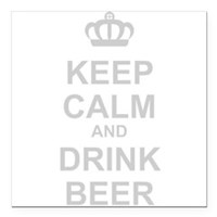 "Keep Calm and Drink Beer Square Car Magnet 3"" x 3"""