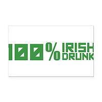 100% Irish 100% Drunk Rectangle Car Magnet