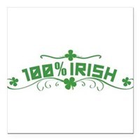 "100% Irish Floral Square Car Magnet 3"" x 3"""