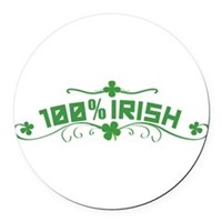 100% Irish Floral Round Car Magnet