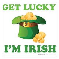 "Get Lucky Im Irish Square Car Magnet 3"" x 3"""
