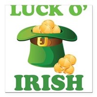 "Luck o' Irish Square Car Magnet 3"" x 3"""