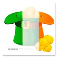 "Irish Hat Flag Colors Square Car Magnet 3"" x 3"""