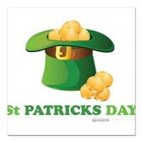 "St Patrick's Day Hat Square Car Magnet 3"" x 3"""