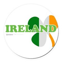 Ireland Clover Flag Round Car Magnet