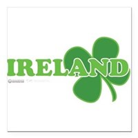 "Ireland Lucky Clover Square Car Magnet 3"" x 3"""