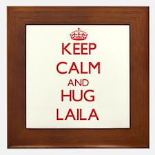 Keep Calm and Hug Laila Framed Tile