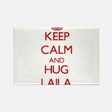 Keep Calm and Hug Laila Magnets