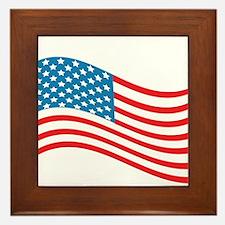 American Flag Wave Framed Tile