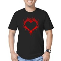 Flaming Heart Men's Fitted T-Shirt (dark)