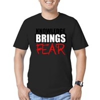 Knowledge Brings Fear Men's Fitted T-Shirt (dark)