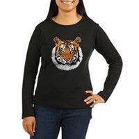 Tiger Face Women's Long Sleeve Dark T-Shirt