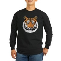 Tiger Face Long Sleeve Dark T-Shirt
