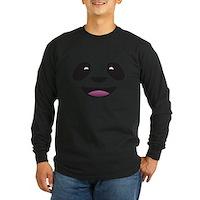 Panda Face Long Sleeve Dark T-Shirt