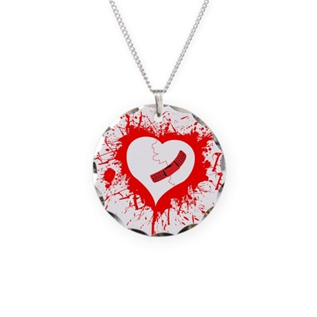 Broken Hearted again Necklace Circle Charm