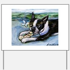 Boston Terrier butterfly Yard Sign