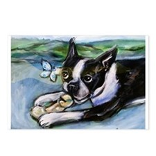 Boston Terrier butterfly Postcards (Package of 8)
