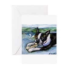 Boston Terrier butterfly Greeting Cards
