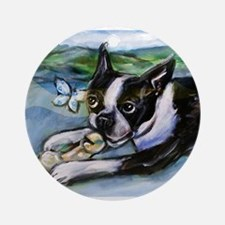Boston Terrier butterfly Ornament (Round)