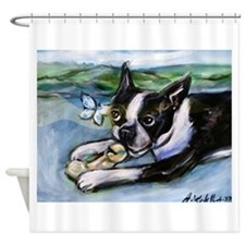 Boston Terrier butterfly Shower Curtain