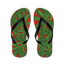 Marijuana Pot Leaves on Red Flip Flops