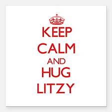 "Keep Calm and Hug Litzy Square Car Magnet 3"" x 3"""