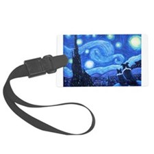 Starry Night Border Collies Luggage Tag
