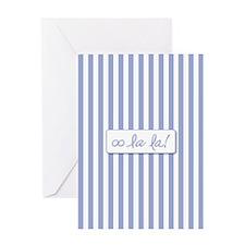 Oo La La on French Blue Stripes Greeting Cards