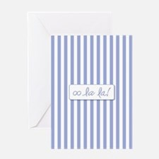 Oo La La on French Blue Stripes Greeting Cards