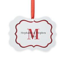 Red Black White Monogram Ornament
