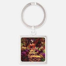 Garden Path by Claude Monet Square Keychain