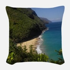Na Pali Coast Line Woven Throw Pillow