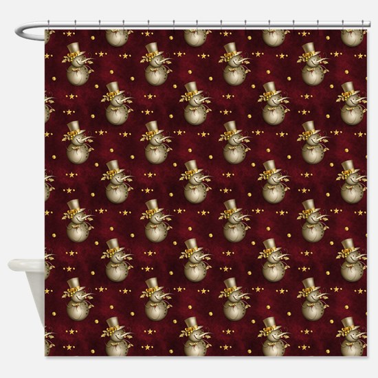 Cute Golden Snowman Shower Curtain