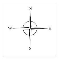 "Compass Rose Square Car Magnet 3"" x 3"""