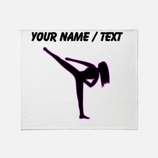 Custom Pink Karate Silhouette Throw Blanket