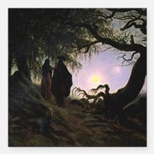 """Contemplating the Moon Square Car Magnet 3"""" x 3"""""""