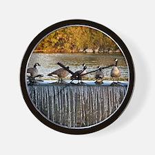 Canadian Geese on Waterfall Wall Clock