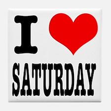 I Heart (Love) Saturday Tile Coaster