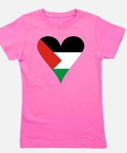 Funky Heart Shaped Palestinian Flag Gra Girl's Tee