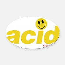 Acid Smiley Oval Car Magnet