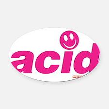 Pink Acid Oval Car Magnet