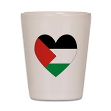 Palestinian Flag Heart Valentine Shot Glass