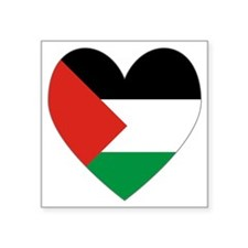 "Palestinian Flag Heart Vale Square Sticker 3"" x 3"""