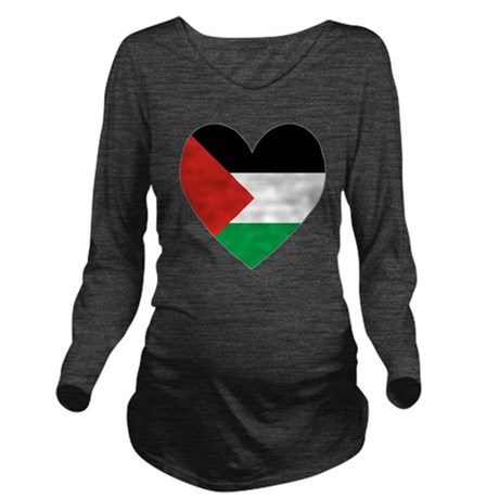 Palestinian Flag Hea Long Sleeve Maternity T-Shirt