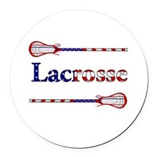 Lacrosse Stars and Stripes Round Car Magnet