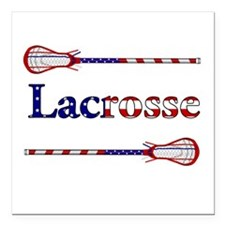 "Lacrosse Stars and Stripes Square Car Magnet 3"" x"