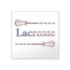 "Lacrosse Stars and Stripes Square Sticker 3"" x 3"""