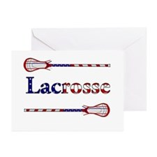 Lacrosse Stars and Stripes Greeting Cards (Pk of 2