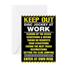 Disc Jockey At Work Greeting Card