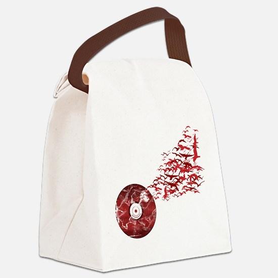 Vinyl Music Birds Canvas Lunch Bag